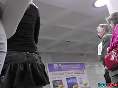 Delightsome upskirt gal clothed in dark