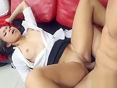 Hot asian chick endures banging