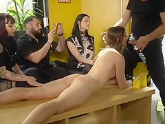 Euro brunette humiliated and banged in public