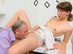 Pretty college girl was seduced and reamed by her elder tutor