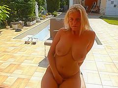 australian step aunt milf masturbates in my backyard
