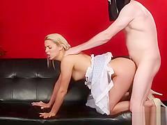 Horny sex kitten gets jizz shot on her face sucking all the j