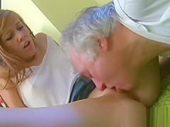 Sweet young gal licked by pold guy