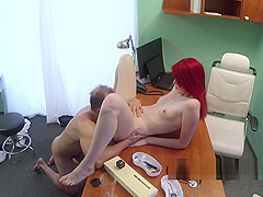 Pale redhead licked in fake hospital
