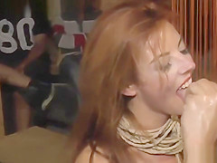 Long haired redhead banged in public bar