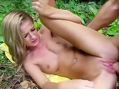 Hot stranded teeb Bella Rose flashes pussy for money