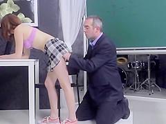 Sensual schoolgirl was seduced and banged by her elderly scho