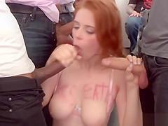 Redhead art student group banged