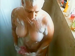 Jerk off on busty mature woman while she showers