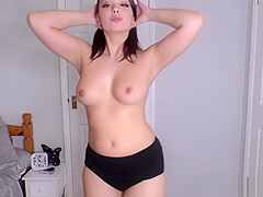 Hot ass babe Alicia shows downblouse beauty and natural tits