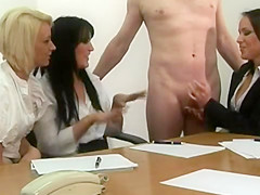 Stiff cock at the offce gets a jerked