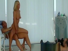 Dirty blond gets her cumshot infront of voyeurs camera