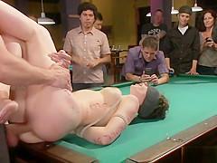 Brunette slut fucks in pool hall bondage