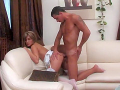 Guy spies on a masturbating blonde