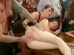 Slut tied and anal fucked in public bar