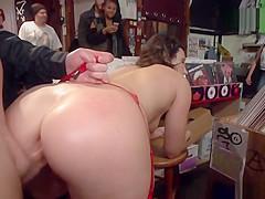 Big ass slave anal fucks in public shop