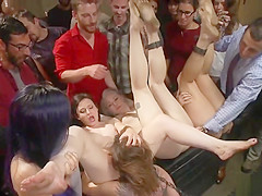 Four anal sluts in public underground