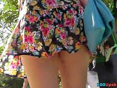 Hawt redhead playgirl in street uskirt vid