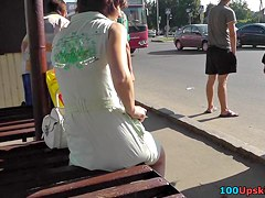 Incredible view up sexy cuties petticoat