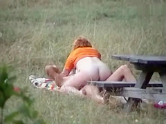 Lusty wife gets slammed in the park doggy style sex in public