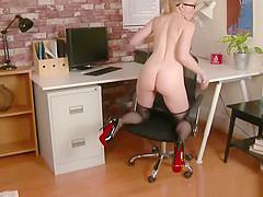 Office babe in nylon pantyhose fucks toy