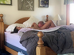 Husband licks, cock slaps, fucks and cums in wife