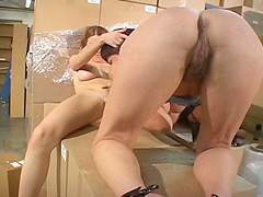 Hot Carpet muncher Strapon Action In Storeroom