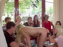Blonde Euro sluts group fucked in public