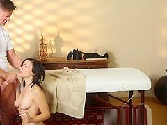 Massage loving babe sucks masseurs cock