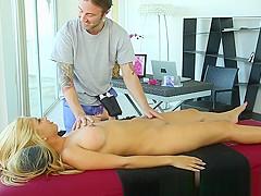 Glam massage babe banged by masseur