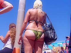 Big ass small thong milf beach voyeur bikini