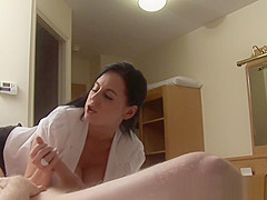 Amateur CFNM milf doggystyled after handjob