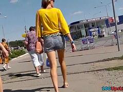 Great upskirt legs and purple panty