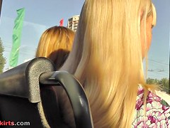 Appealing golden-haired upskirt episode movie