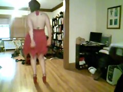 Large Breasted non-professional dancing and teasing topless