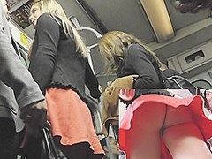 Blond upskirt cutie in subway
