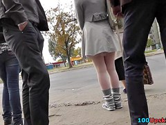Spectacular upskirt on a cold day