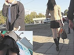 Chic outdoor upskirt footage