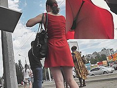 Alluring upskirt playgirl in a hawt red costume