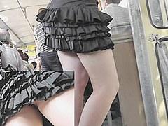 Peeking up frilly mini petticoat