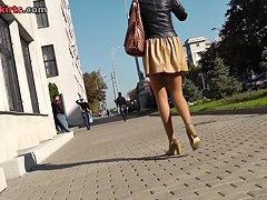 Darksome panty and tan pantyhose up the petticoat
