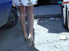 Sitting in the bus women haunches up petticoat