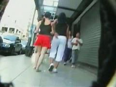 Young teen brunette upskirt voyeur video