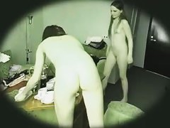 Two mind blowing hotties naked in their apartment caught on spy cam