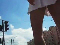 Gorgeous upskirt amateur brunette video