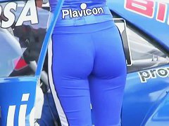 Super models show off their curvy asses on a car show