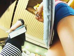 Hot voyeur up skirt video of a white girl shopping