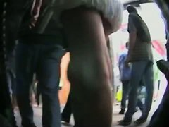 Completely hot up skirt video of a white chick