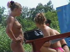 Teen topless babes wanna have fun at the beach