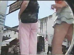 Amazing teen ass in short jeans skirt upskirt